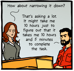 woman says: How about narrowing it down? Man: That's asking a lot. It might take me 10 hours just to figure out that it takes me 10 hours and 5 minutes to complete the task.
