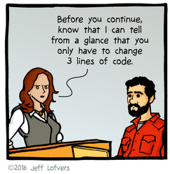 woman: Before you continue, know that I can tell from a glance that you only have to change 3 lines of code