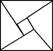 picture of four triangles surrounding a square making a larger square shape